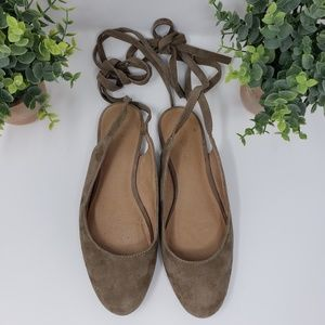 Madewell The April Ankle Wrap Gray Mules Sz 7.5